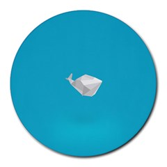 Animals Whale Blue Origami Water Sea Beach Round Mousepads