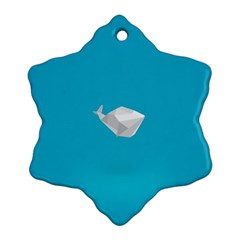 Animals Whale Blue Origami Water Sea Beach Snowflake Ornament (two Sides)