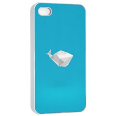 Animals Whale Blue Origami Water Sea Beach Apple Iphone 4/4s Seamless Case (white) by Alisyart