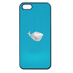 Animals Whale Blue Origami Water Sea Beach Apple Iphone 5 Seamless Case (black)