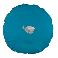 Animals Whale Blue Origami Water Sea Beach Large 18  Premium Round Cushions
