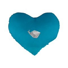 Animals Whale Blue Origami Water Sea Beach Standard 16  Premium Heart Shape Cushions by Alisyart
