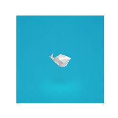 Animals Whale Blue Origami Water Sea Beach Small Satin Scarf (square)