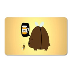 Bear Meet Bee Honey Animals Yellow Brown Magnet (rectangular)