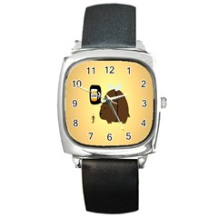 Bear Meet Bee Honey Animals Yellow Brown Square Metal Watch