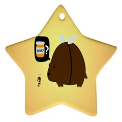 Bear Meet Bee Honey Animals Yellow Brown Star Ornament (two Sides) by Alisyart