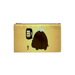 Bear Meet Bee Honey Animals Yellow Brown Cosmetic Bag (small)  by Alisyart
