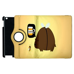 Bear Meet Bee Honey Animals Yellow Brown Apple Ipad 3/4 Flip 360 Case by Alisyart
