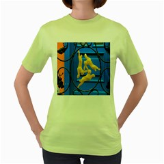 Animal Hare Window Gold Women s Green T Shirt