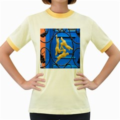 Animal Hare Window Gold Women s Fitted Ringer T Shirts by Nexatart