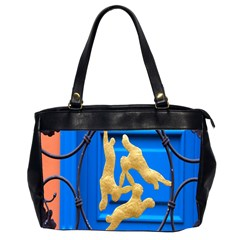 Animal Hare Window Gold Office Handbags (2 Sides)  by Nexatart