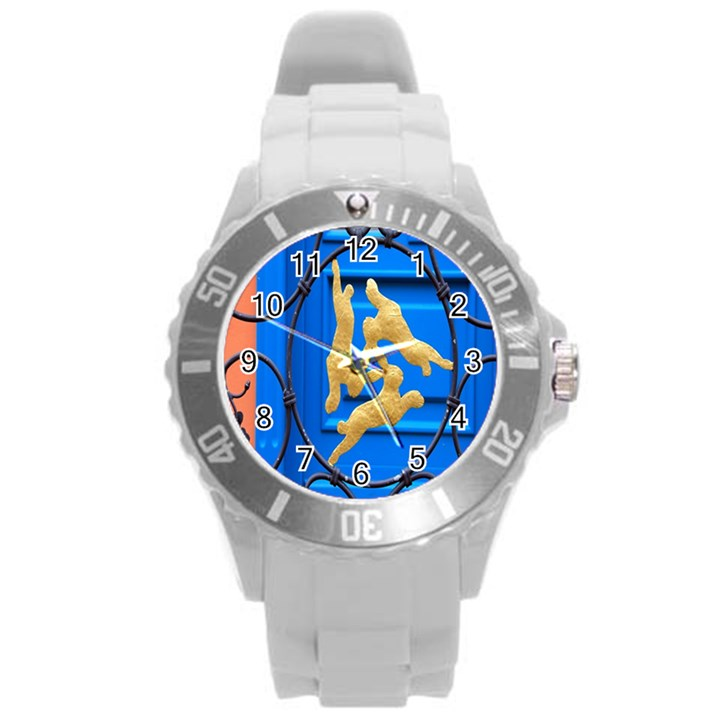 Animal Hare Window Gold Round Plastic Sport Watch (L)
