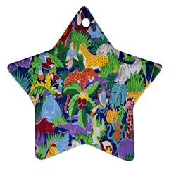 Animated Safari Animals Background Ornament (star) by Nexatart