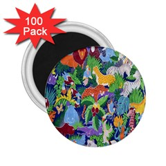 Animated Safari Animals Background 2 25  Magnets (100 Pack)