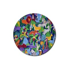 Animated Safari Animals Background Rubber Coaster (round)