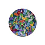 Animated Safari Animals Background Rubber Coaster (Round)  Front