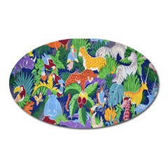 Animated Safari Animals Background Oval Magnet by Nexatart