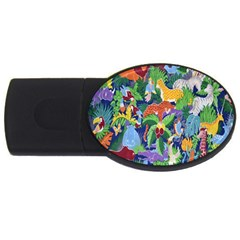 Animated Safari Animals Background Usb Flash Drive Oval (4 Gb) by Nexatart