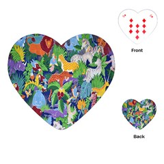 Animated Safari Animals Background Playing Cards (heart)