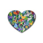 Animated Safari Animals Background Heart Coaster (4 pack)  Front
