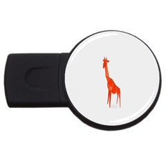 Animal Giraffe Orange Usb Flash Drive Round (2 Gb)