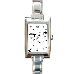 Bird Fly Black Rectangle Italian Charm Watch by Alisyart