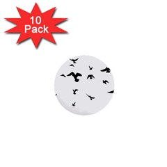 Bird Fly Black 1  Mini Buttons (10 Pack)  by Alisyart