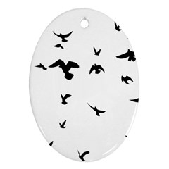 Bird Fly Black Oval Ornament (two Sides)
