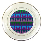 Blue Greens Aqua Purple Green Blue Plums Long Triangle Geometric Tribal Porcelain Plates Front