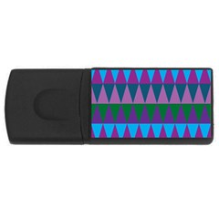 Blue Greens Aqua Purple Green Blue Plums Long Triangle Geometric Tribal Usb Flash Drive Rectangular (4 Gb)