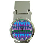 Blue Greens Aqua Purple Green Blue Plums Long Triangle Geometric Tribal Money Clip Watches Front