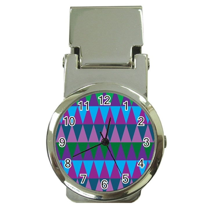 Blue Greens Aqua Purple Green Blue Plums Long Triangle Geometric Tribal Money Clip Watches