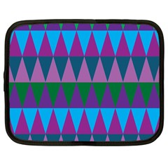 Blue Greens Aqua Purple Green Blue Plums Long Triangle Geometric Tribal Netbook Case (large)