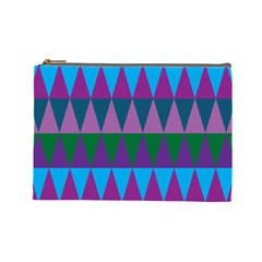 Blue Greens Aqua Purple Green Blue Plums Long Triangle Geometric Tribal Cosmetic Bag (large)  by Alisyart