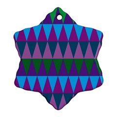 Blue Greens Aqua Purple Green Blue Plums Long Triangle Geometric Tribal Snowflake Ornament (two Sides)