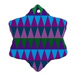Blue Greens Aqua Purple Green Blue Plums Long Triangle Geometric Tribal Snowflake Ornament (Two Sides) Back
