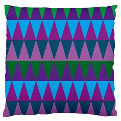 Blue Greens Aqua Purple Green Blue Plums Long Triangle Geometric Tribal Large Cushion Case (two Sides)