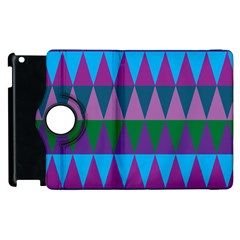 Blue Greens Aqua Purple Green Blue Plums Long Triangle Geometric Tribal Apple Ipad 3/4 Flip 360 Case by Alisyart