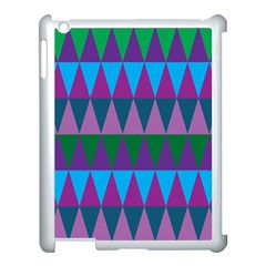 Blue Greens Aqua Purple Green Blue Plums Long Triangle Geometric Tribal Apple Ipad 3/4 Case (white) by Alisyart
