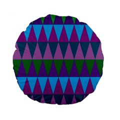 Blue Greens Aqua Purple Green Blue Plums Long Triangle Geometric Tribal Standard 15  Premium Round Cushions by Alisyart