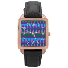 Blue Greens Aqua Purple Green Blue Plums Long Triangle Geometric Tribal Rose Gold Leather Watch  by Alisyart