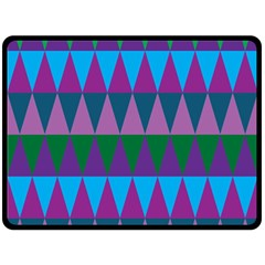 Blue Greens Aqua Purple Green Blue Plums Long Triangle Geometric Tribal Double Sided Fleece Blanket (large)