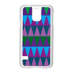 Blue Greens Aqua Purple Green Blue Plums Long Triangle Geometric Tribal Samsung Galaxy S5 Case (white) by Alisyart