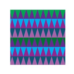 Blue Greens Aqua Purple Green Blue Plums Long Triangle Geometric Tribal Small Satin Scarf (square)