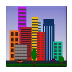 City Skyscraper Buildings Color Car Orange Yellow Blue Green Brown Tile Coasters by Alisyart