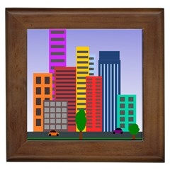 City Skyscraper Buildings Color Car Orange Yellow Blue Green Brown Framed Tiles by Alisyart