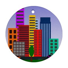 City Skyscraper Buildings Color Car Orange Yellow Blue Green Brown Ornament (round)