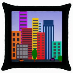 City Skyscraper Buildings Color Car Orange Yellow Blue Green Brown Throw Pillow Case (black)