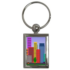 City Skyscraper Buildings Color Car Orange Yellow Blue Green Brown Key Chains (rectangle)