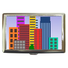 City Skyscraper Buildings Color Car Orange Yellow Blue Green Brown Cigarette Money Cases by Alisyart